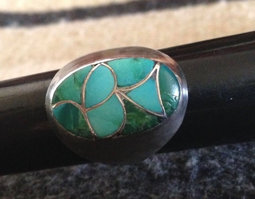 Native American Navajo Sterling Silver Turquoise Ring - 2