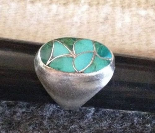 Native American Navajo Sterling Silver Turquoise Ring - 3