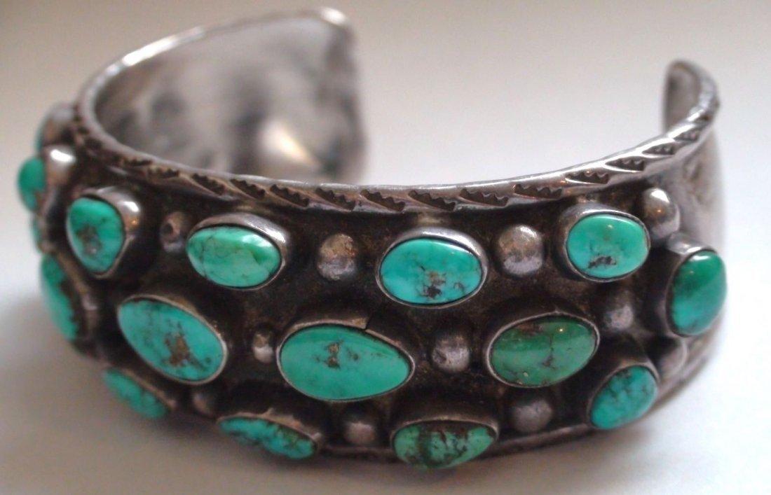 Native American Navajo Sterling Turquoise Bracelet - 2