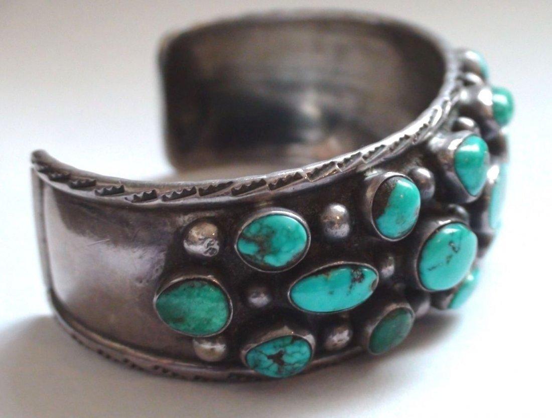 Native American Navajo Sterling Turquoise Bracelet - 3