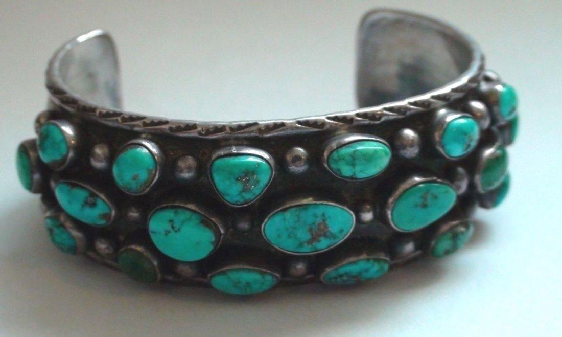 Native American Navajo Sterling Turquoise Bracelet - 4