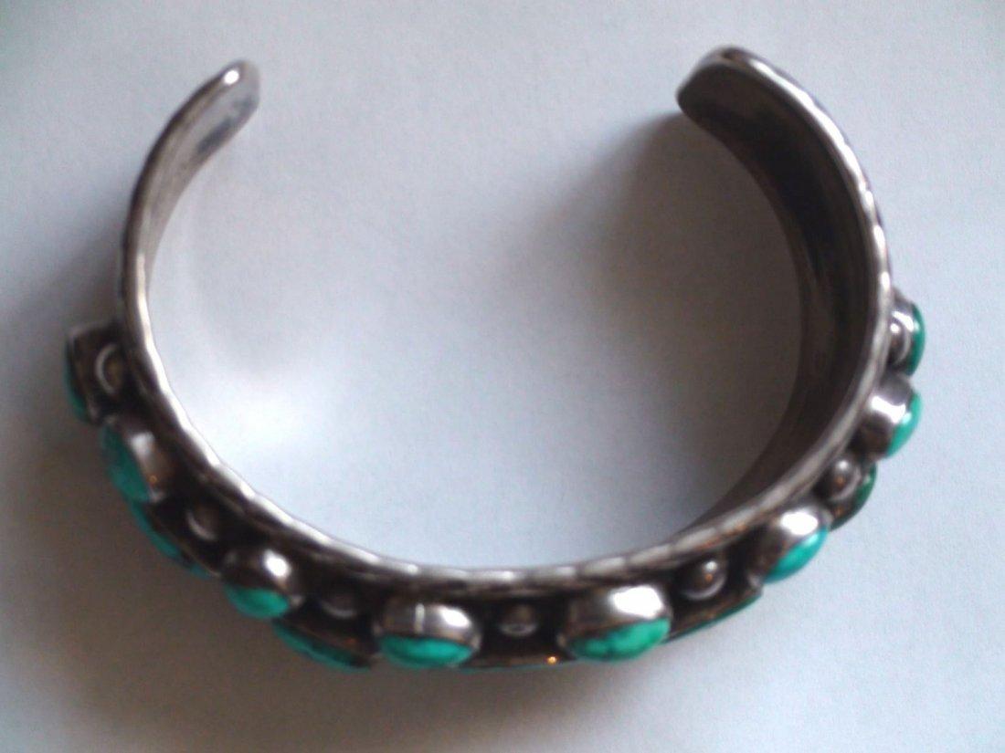 Native American Navajo Sterling Turquoise Bracelet - 7