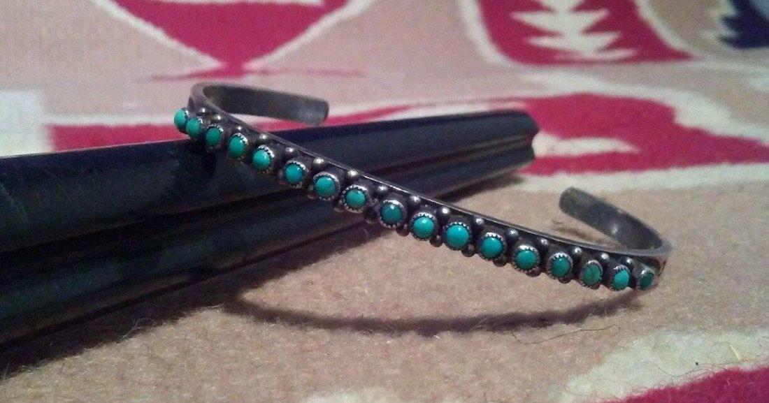 Native American Zuni Sterling Silver Turquoise Bracelet