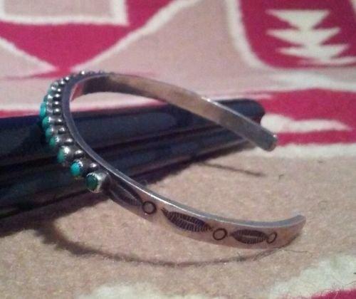 Native American Zuni Sterling Silver Turquoise Bracelet - 3
