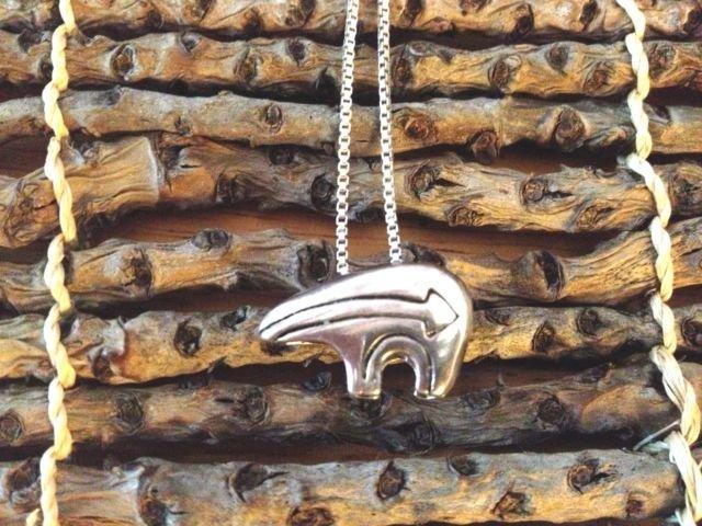 Native American Navajo Sterling Silver Bear Necklace