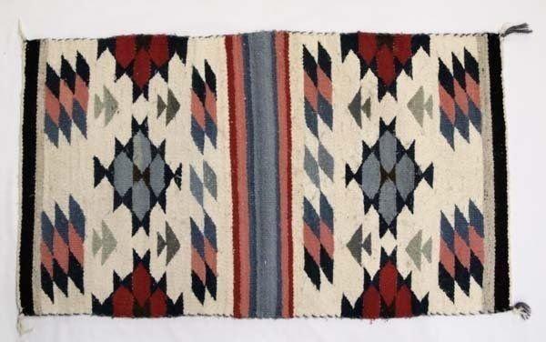 Native American Navajo Hand Woven Wool Rug 37 X 22
