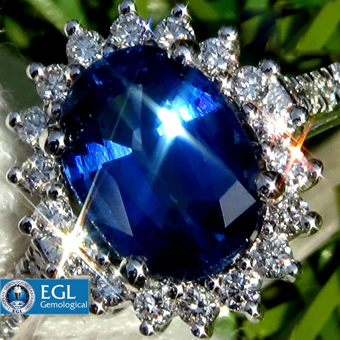 Natural Royal Blue Sapphire Diamond Ring 14k Gold EGL