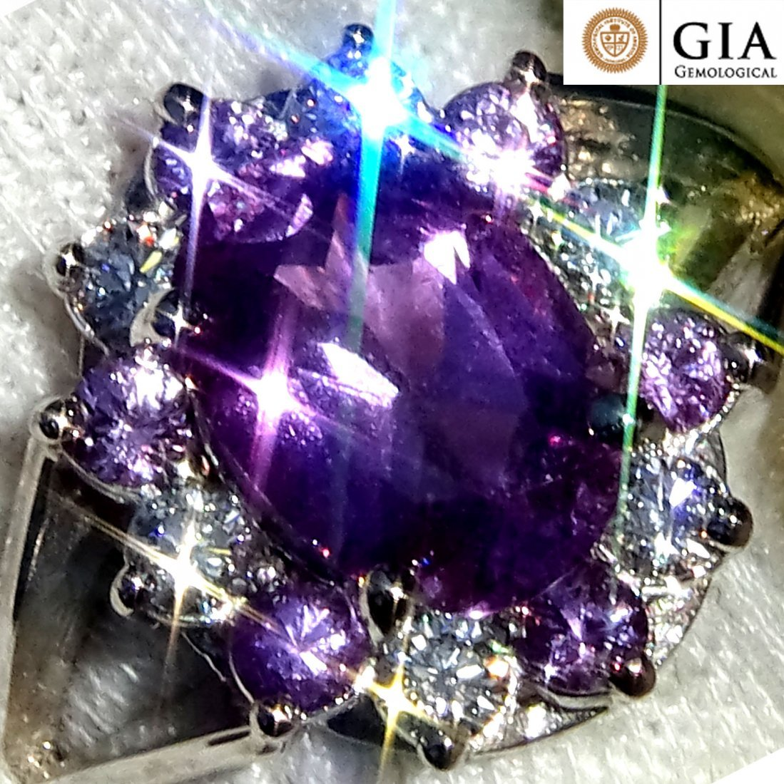 3.78 Unheated Sapphire Diamond Ring 14k Gold GIA
