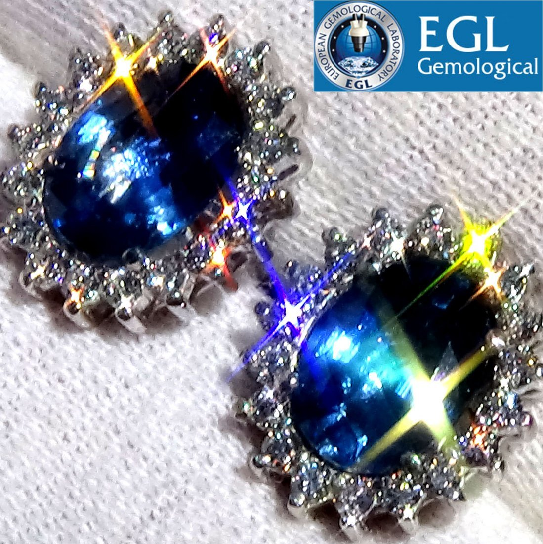 3.90ct Blue Sapphire Diamond Stud Earrings 18k Gold EGL
