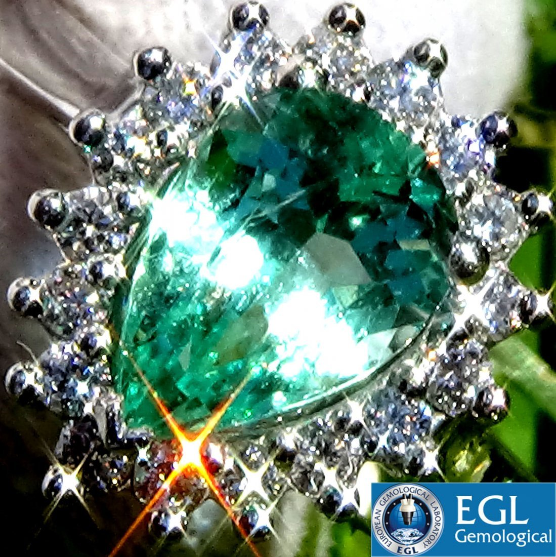 1.46ct Colombian Emerald And Diamond Ring 14k Gold EGL