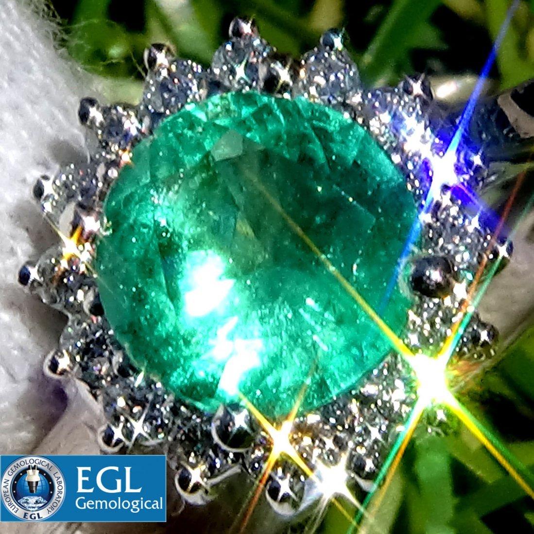 1.25ct Green Emerald And Diamond Ring 14k Gold EGL Cert