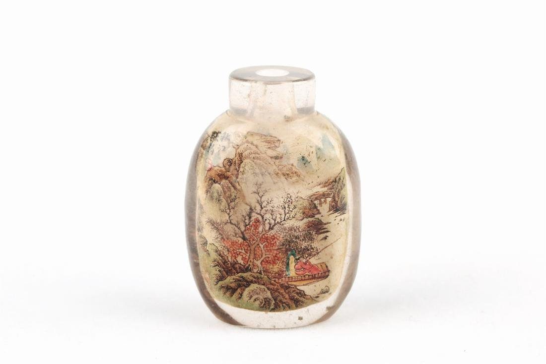 A Chinese Crystal Snuff Bottle with Inside Painting