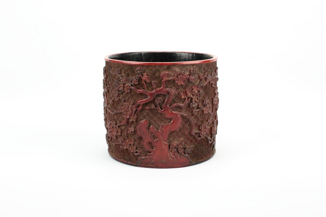 A Chinese Lacquer Brush Pot