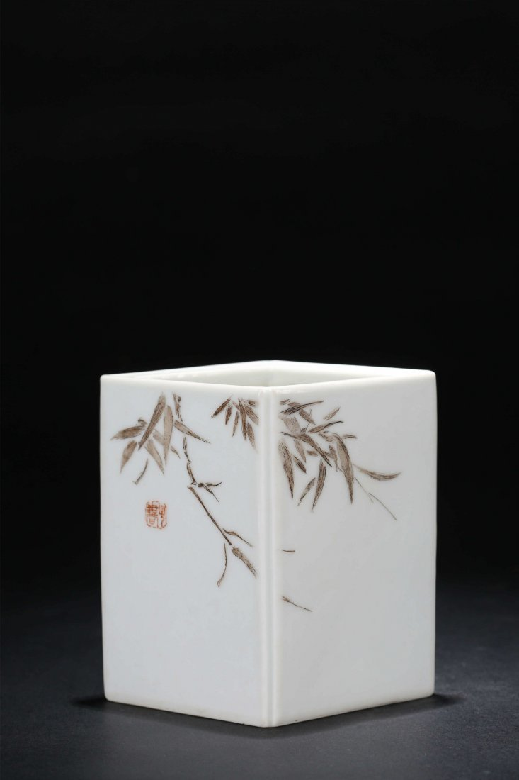 A Chinese Famille Rose Porcelain Square Brush Pot - 2