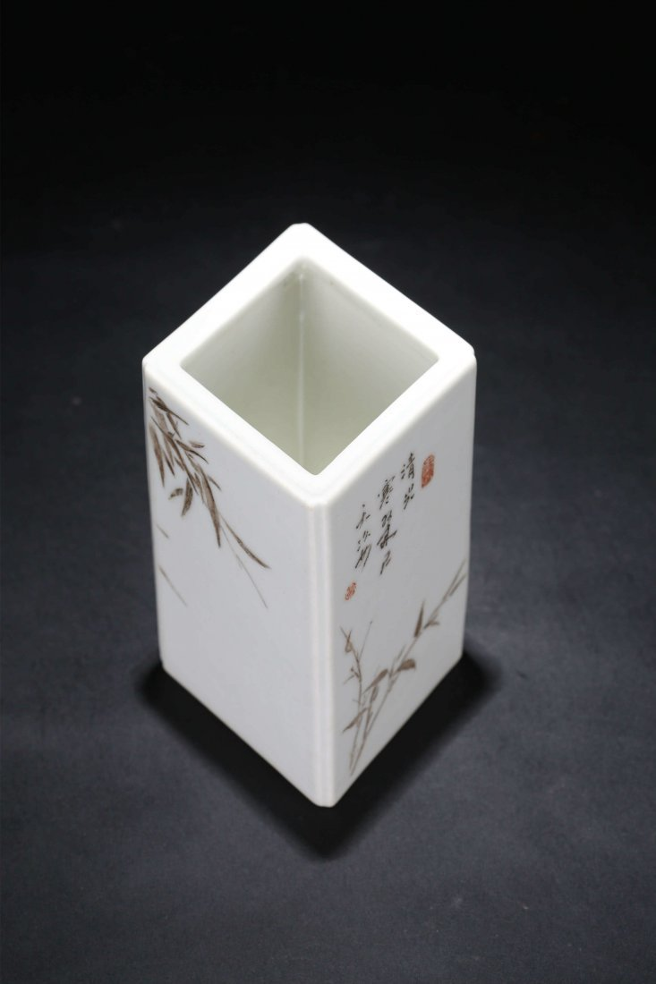 A Chinese Famille Rose Porcelain Square Brush Pot - 4