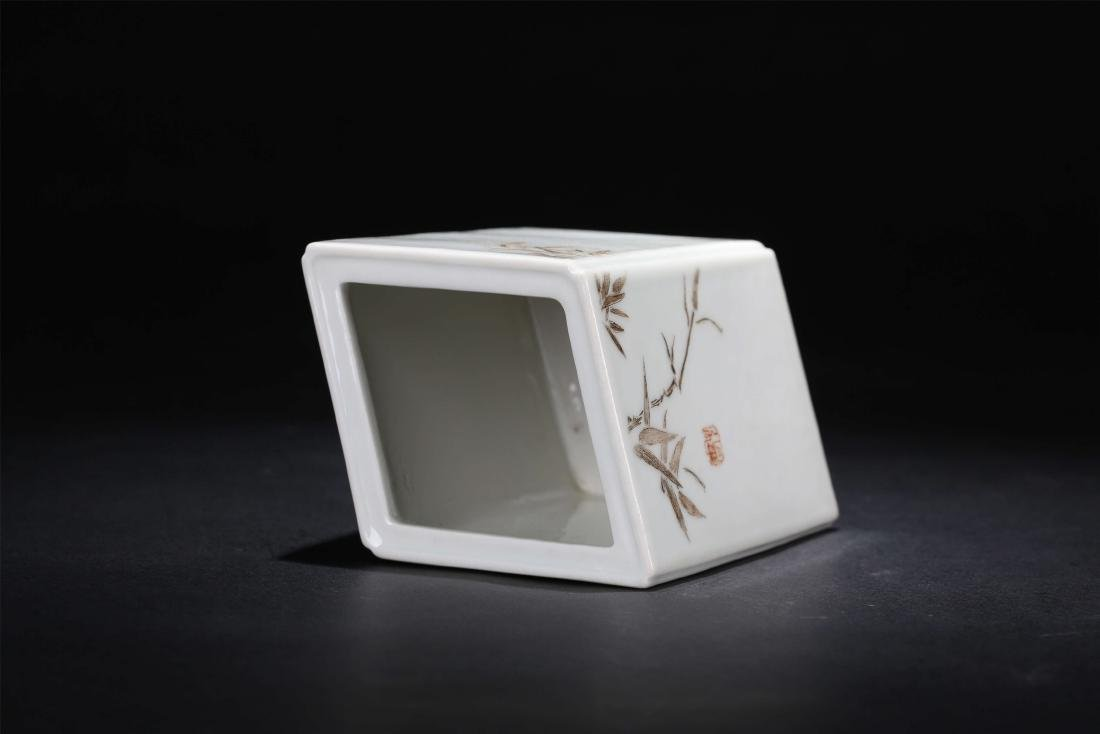 A Chinese Famille Rose Porcelain Square Brush Pot - 5