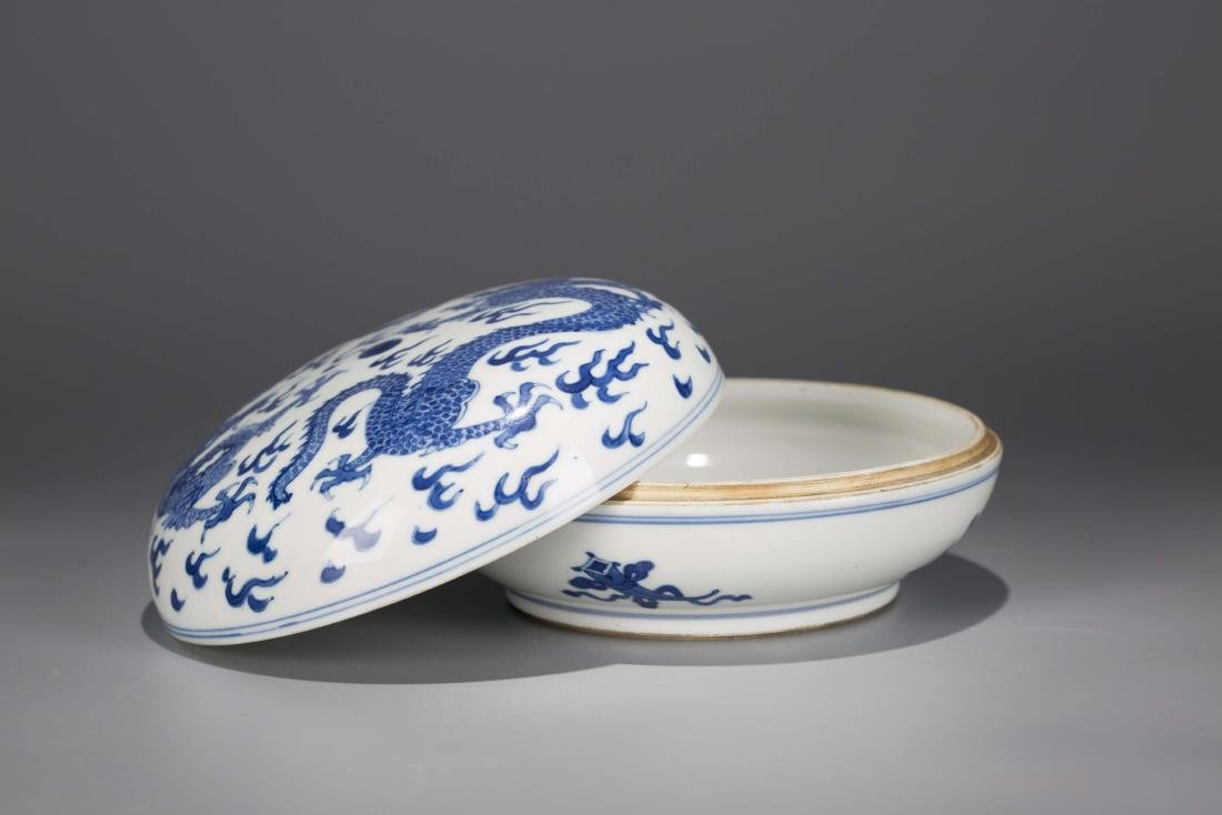 A Chinese Blue and White Porcelain Box with Cover - 3