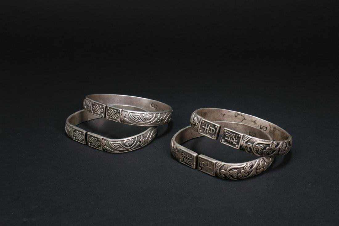 Two Pair of Chinese Silver Bracelets