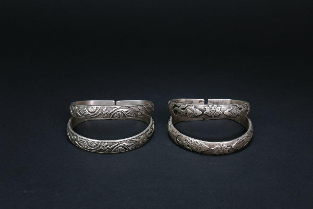 Two Pair of Chinese Silver Bracelets - 2