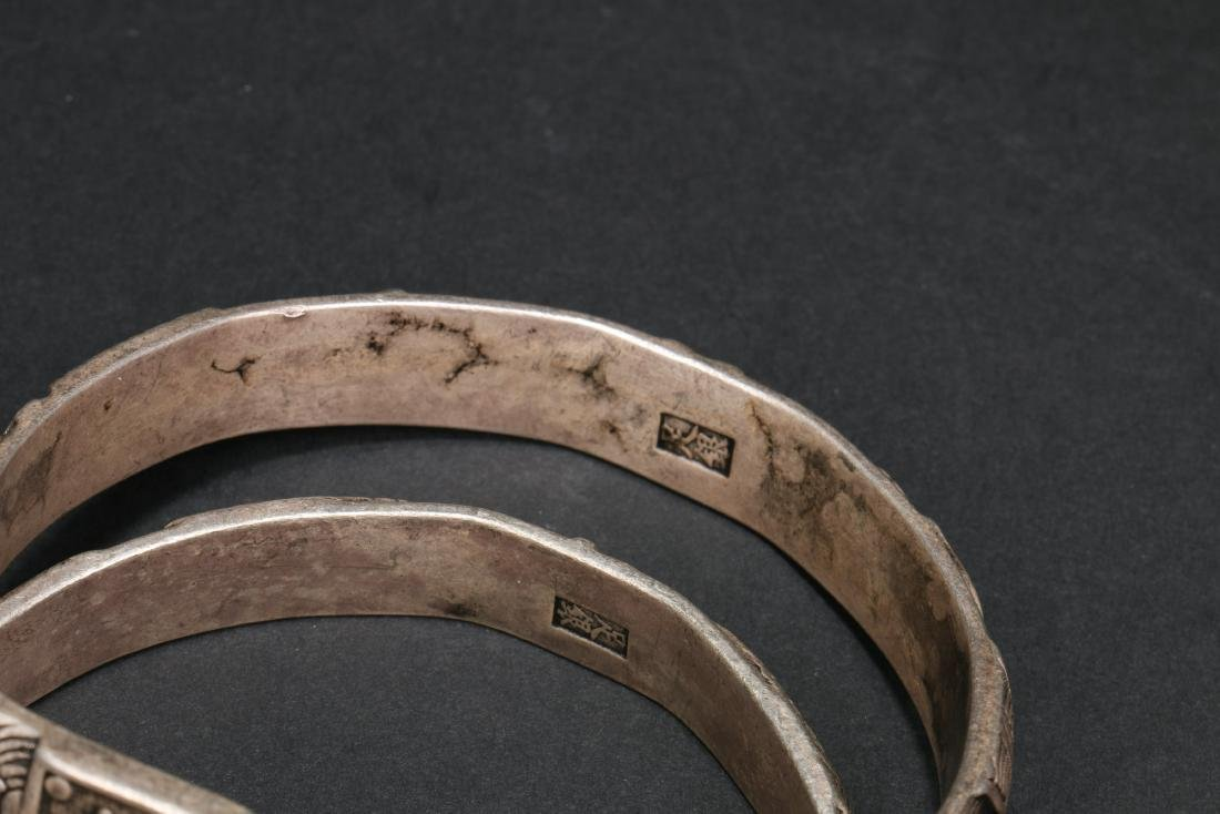 Two Pair of Chinese Silver Bracelets - 4