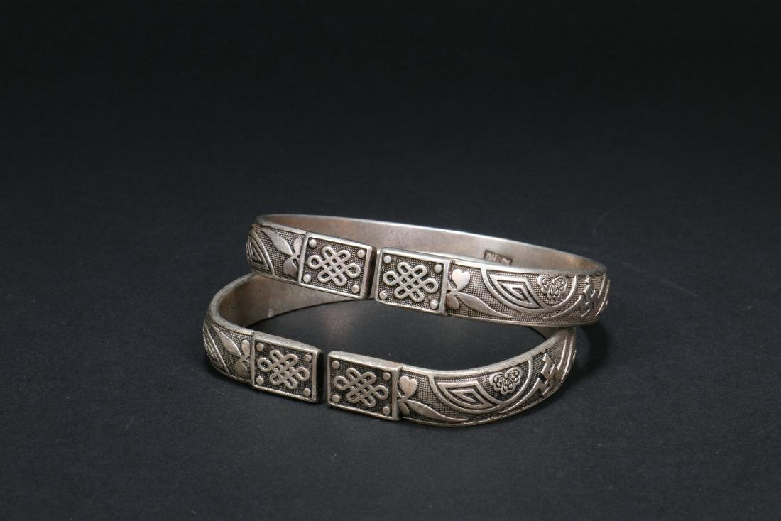 Two Pair of Chinese Silver Bracelets - 5