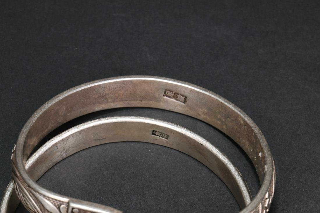 Two Pair of Chinese Silver Bracelets - 6