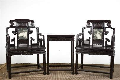 A Pair of Chinese Zitan Chairs with Table
