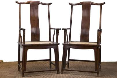 A Chinese Carved Huanghuali Chairs