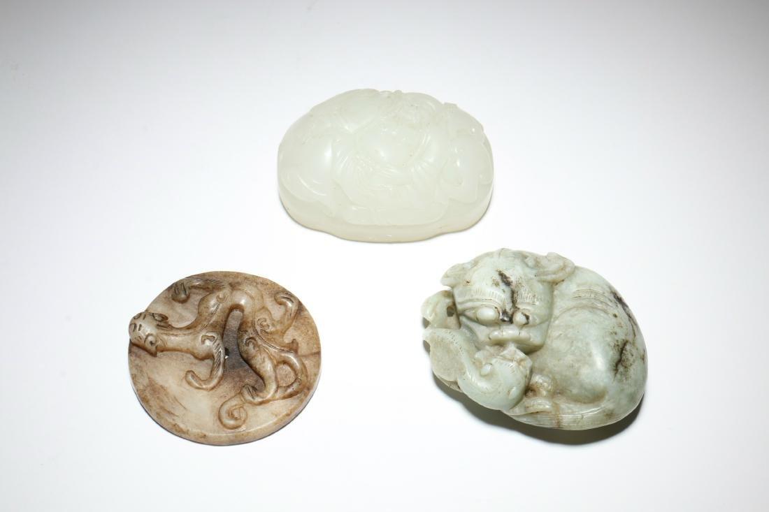 A Set of Three Carved Jade Pendant