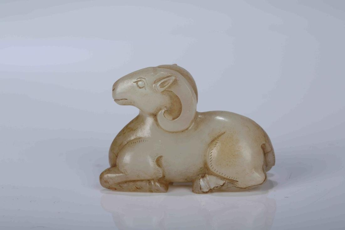 A Chinese Carved Jade Goat Decoration