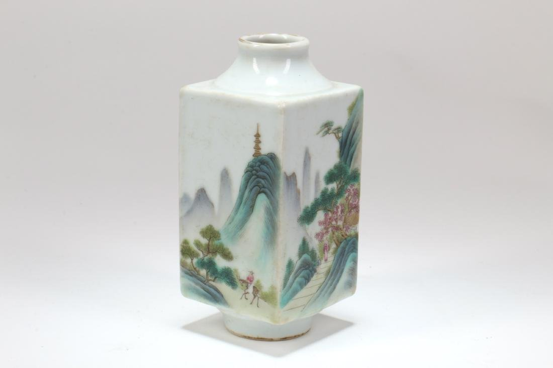 A Chinese Famille-Rose Porcelain Square Vase