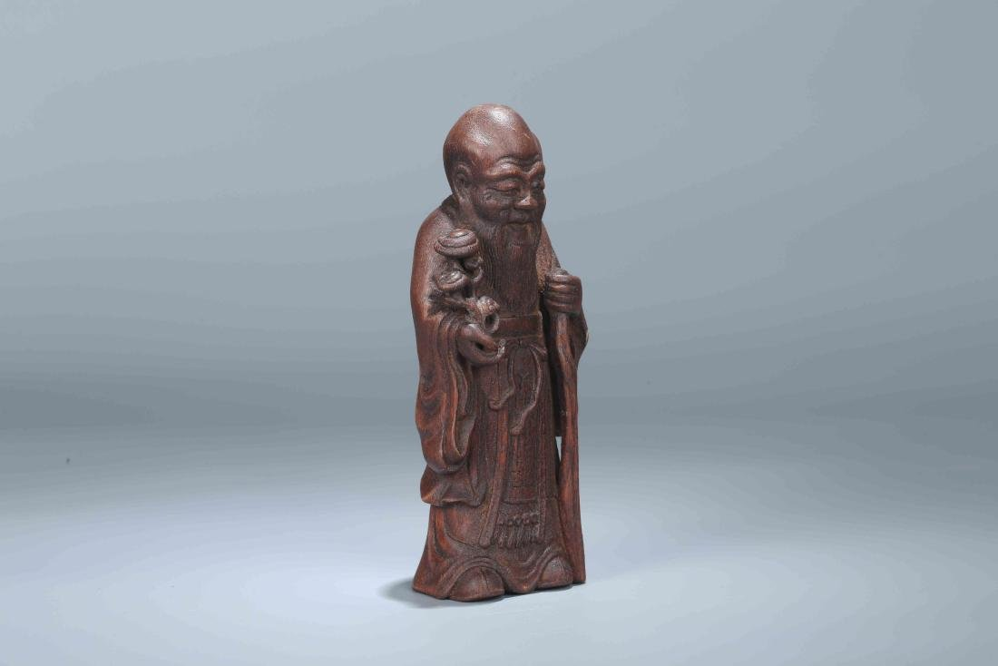 A Chinese Carved Wood Figure - 3
