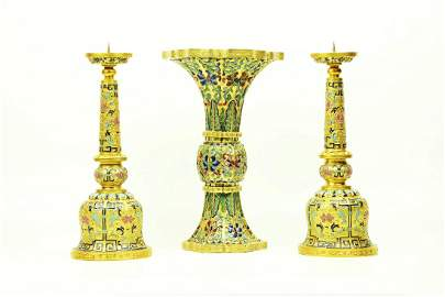 A Pair of Cloisonné Candle Holders and One Cloisonné