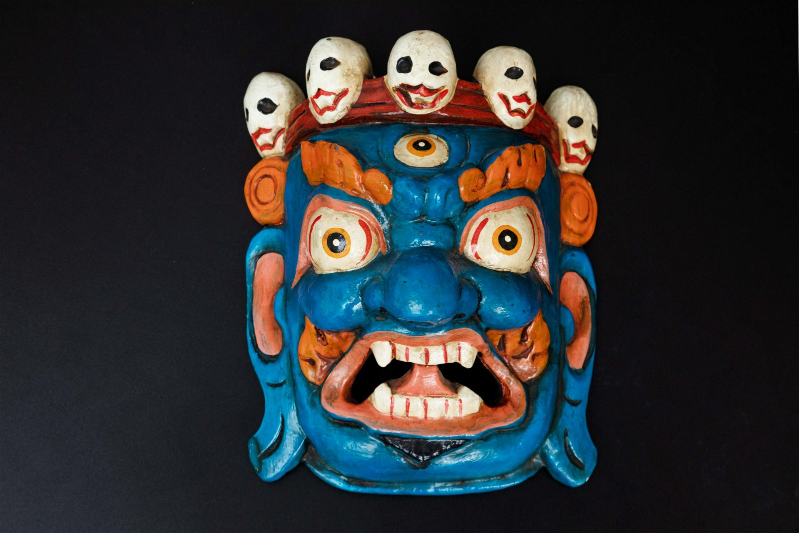 A Chinese Carved Wood Mask