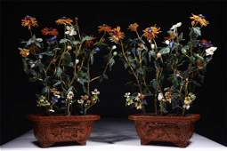 A Pair of Chinese Carved Tixi Lacquer Planter with