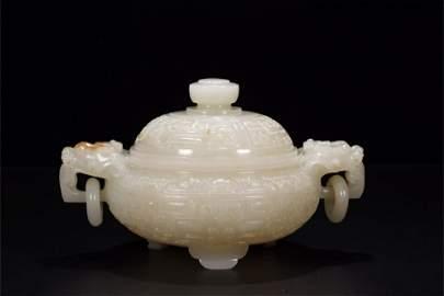 A Chinese Carved Jade Incense Burner