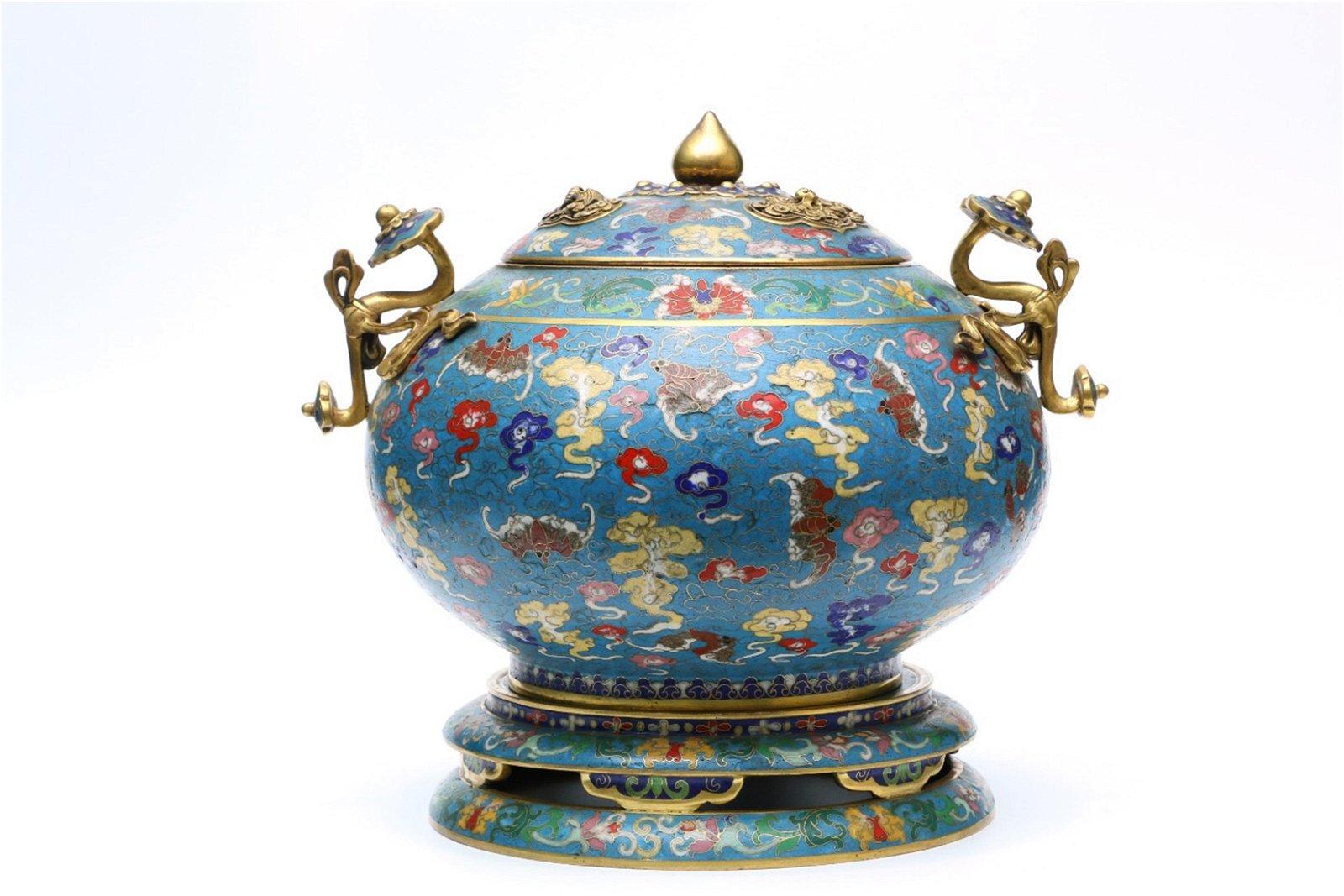 A Chinese Gilt Bronze Cloisonne Incense Burner