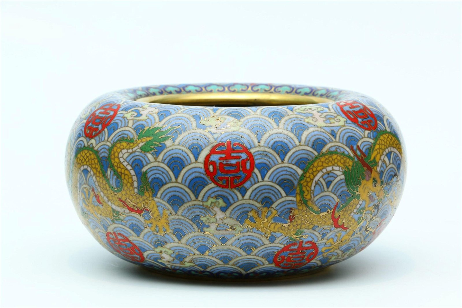 A Chinese Gilt Bronze Cloisonne Brush Washer