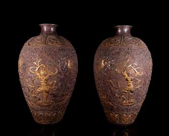 A Pair of Chinese Silver Gilding Vases