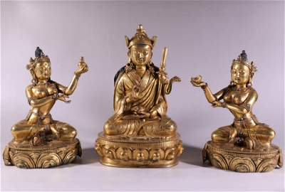 3 Bronze Gilding Buddha Statue Figures