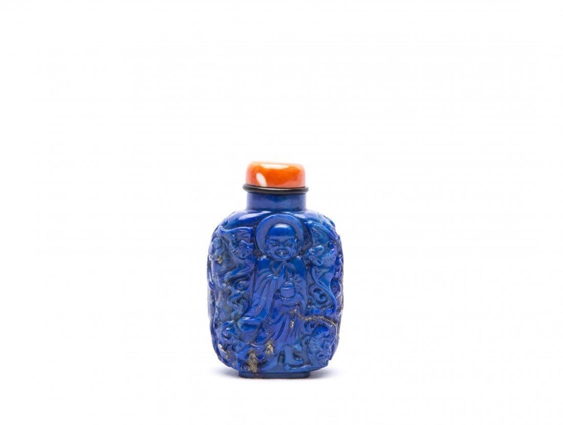 A Chinese Carved Lapis Lazuli Snuff Bottle