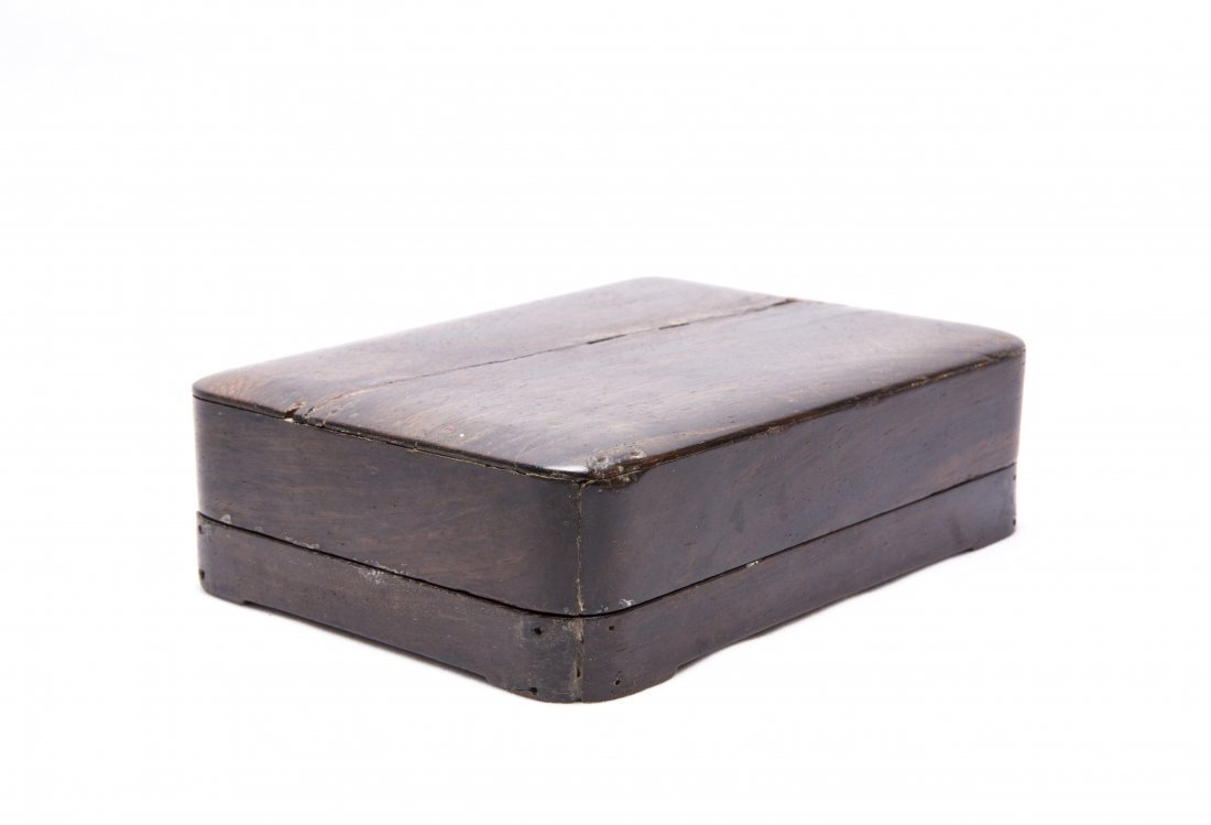 A Chinese Carved Ink Stone with a Hard Wood Box