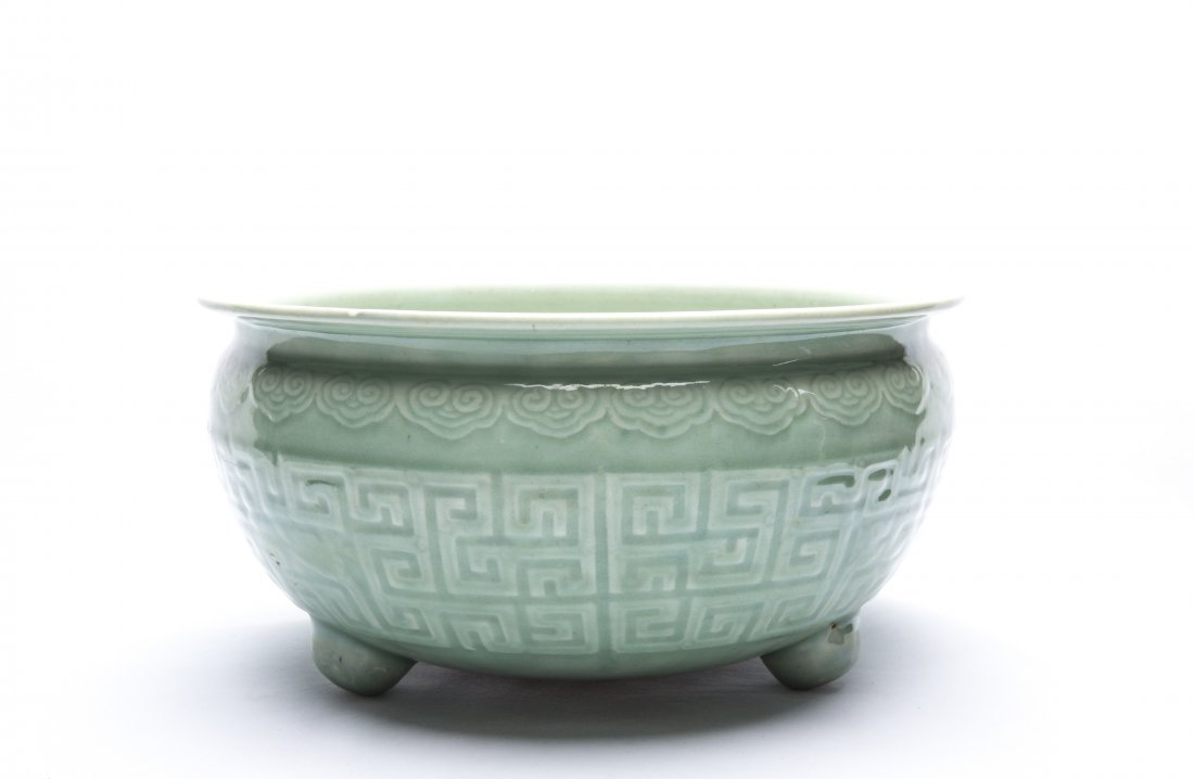 A Chinese Green Glazed Porcelain Incense Burner