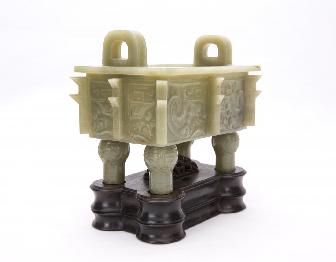 A Chinese White Jade Ding With The Stand - 2
