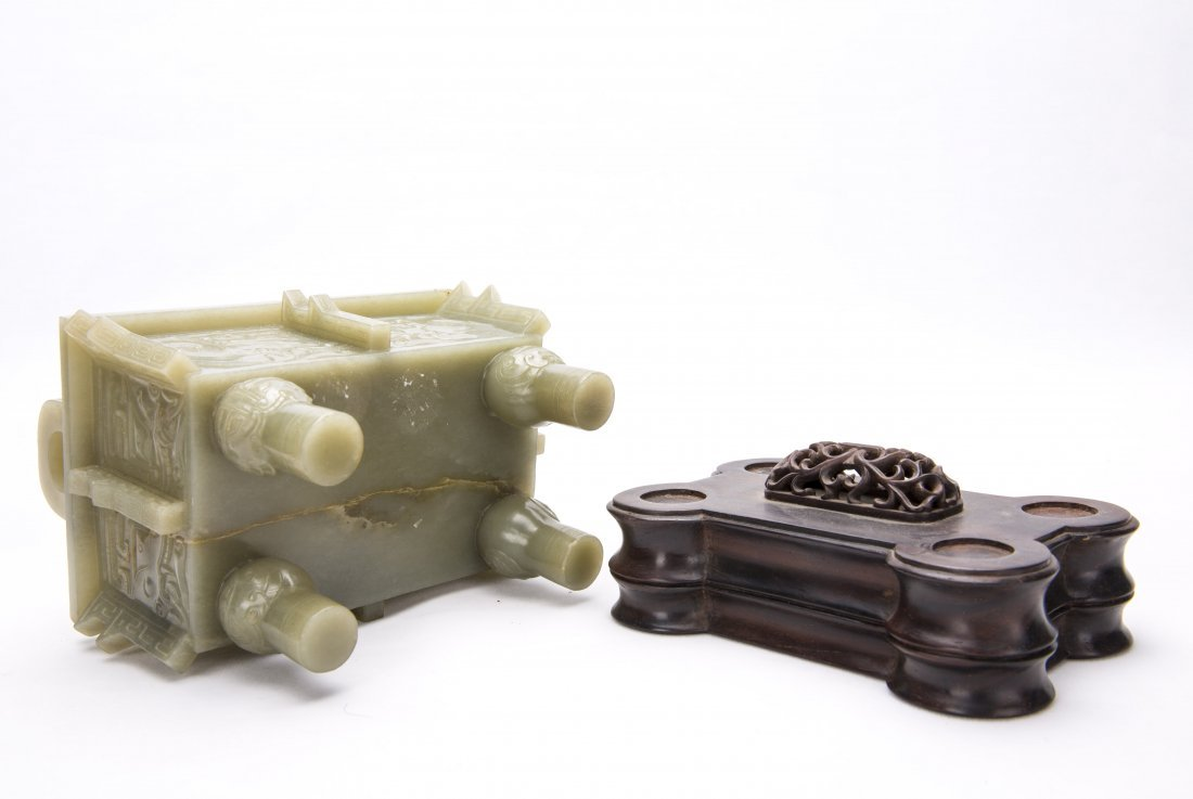 A Chinese White Jade Ding With The Stand - 3
