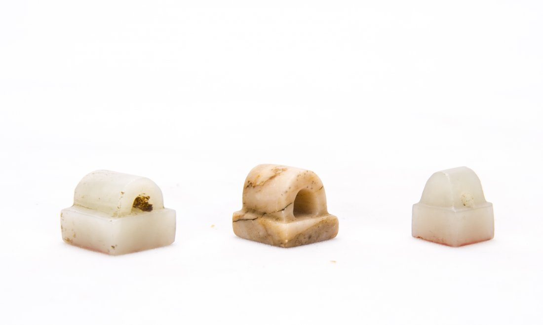 A Set Of Three Chinese White Jade Seals