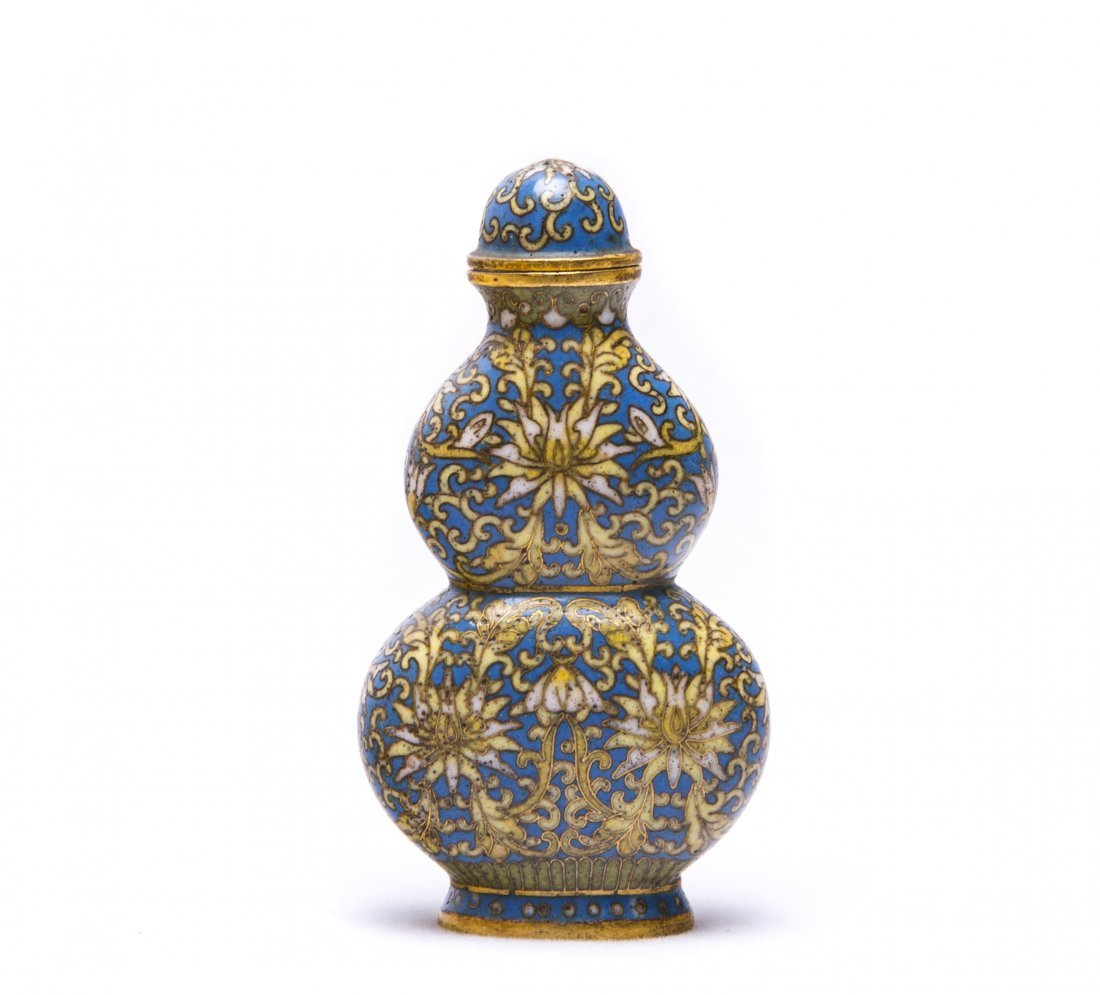 A Chinese Cloisonne Enamel Gourd-Shaped Snuff Bottle