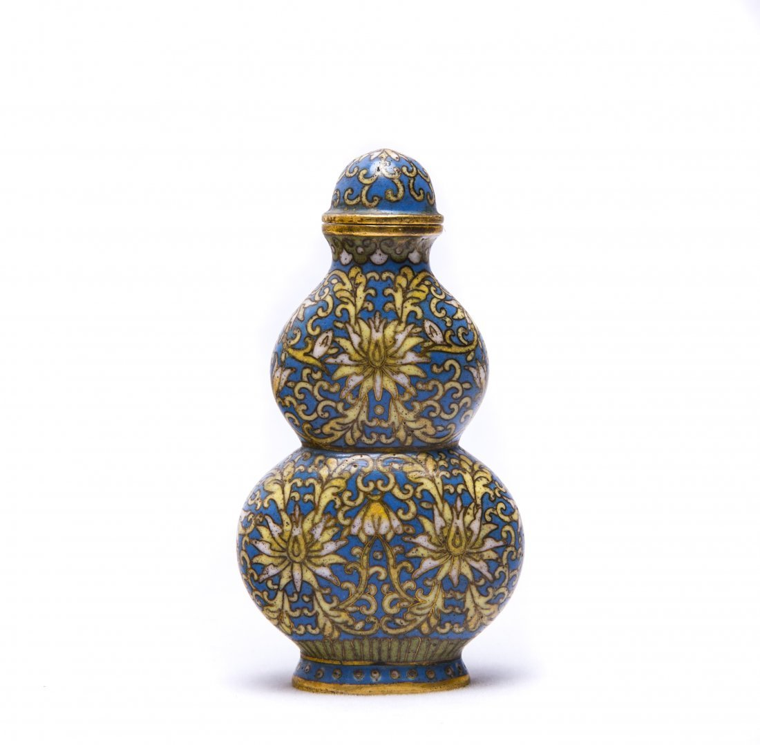 A Chinese Cloisonne Enamel Gourd-Shaped Snuff Bottle - 3