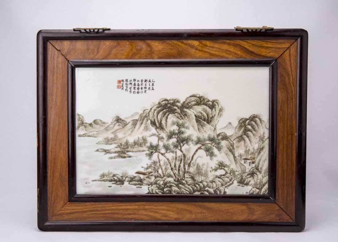A Chinese Porcelain Panel With Landscape Design By