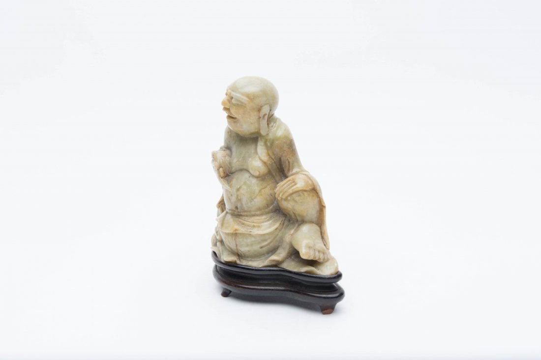A Carved ShouShan Soapstone LaoHan Figure On Wood Stand - 2